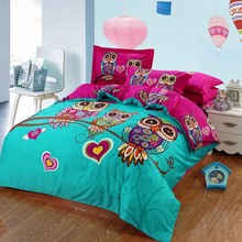 Adult/kids owl bedding set blue boys/girls quilt duvet cover bed sheet cartoon pattern bedspread king queen twin size bed linen(China (Mainland))