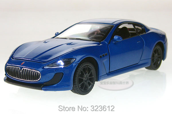 Free shipping New 1:32 Maserati GT Alloy Diecast Vehicle Car Model Toy Collection With Sound and Light Blue B2225(China (Mainland))