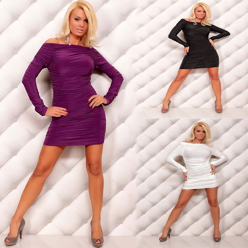 Hot Sexy Black White Purple Package Hip Dress Long-Sleeve Off the Shoulder Mini Dresses Night Club Suit DS Costumes One Size XXL(China (Mainland))