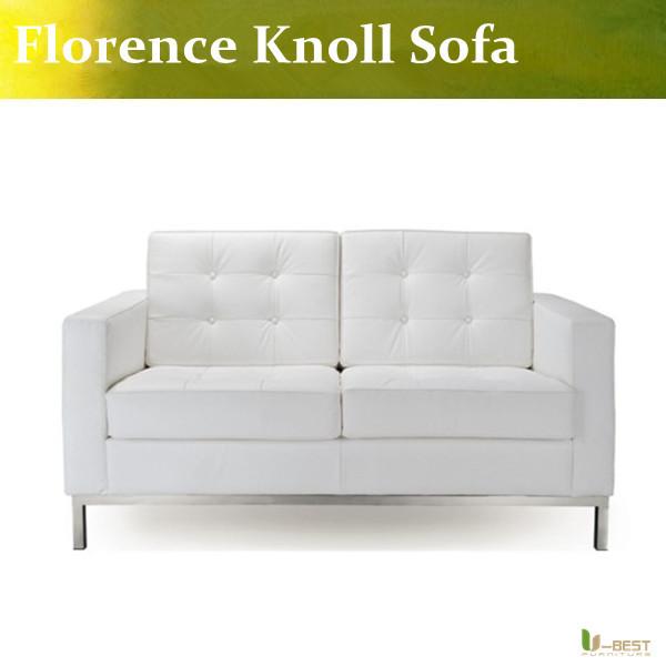 Здесь можно купить  White leather modern classic contemporary reproduction retro furniture Florence Knoll Loveseat,Knoll 2 Seater Sofa  Мебель