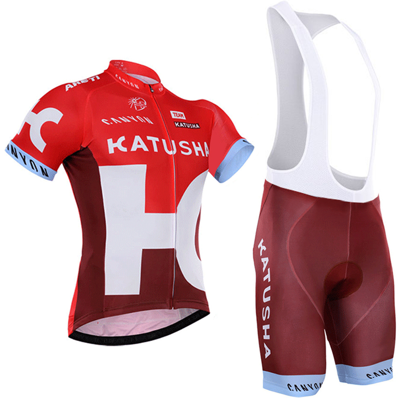 2016 katusha cycling jersey team cycling clothing quick dry cycling bibs set with gel pad cycling wear free shipping(China (Mainland))
