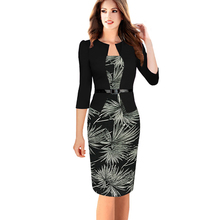 Womens Elegant Faux Twinset Belted Tartan Floral Print Patchwork Work Business Sheath Bodycon Pencil Dress