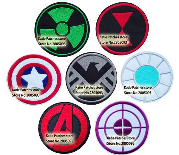 The Avenger Logos Embroidered Iron On Patches, Capain America Hulk Shield Ironman Thor Kids DIY Clothing Kids Accessories(China (Mainland))