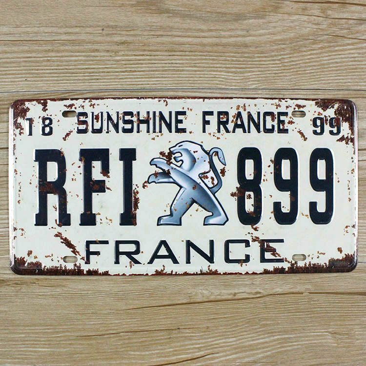 """Hot sale XDCP-099 Vintage license plate """"FRANCE RFI 899""""Metal signs home decor Office Restaurant Bar Metal Painting art 15x30CM(China (Mainland))"""