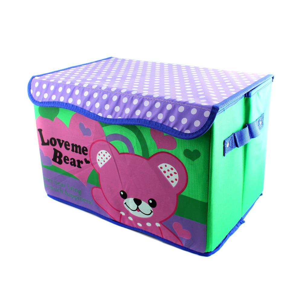 1pcs 680g Large size Cartoon Cute Bear Printed Pattern Folding Storage Bin Toy Box Children Organizer