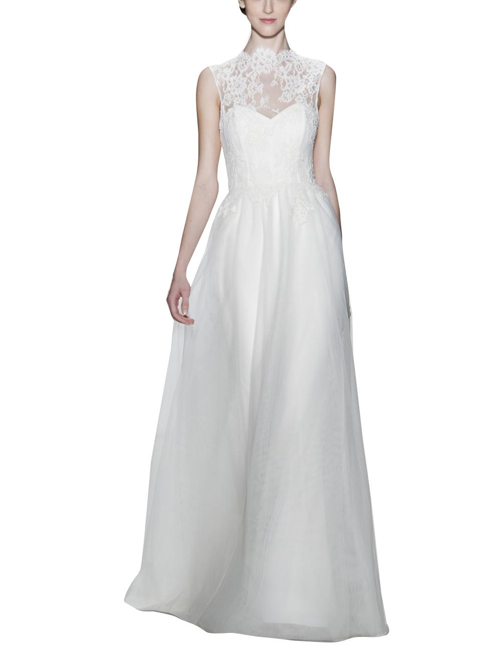 2016 Barato Plus Size Vestidos de Casamento Uk Alta Collar Vestidos de Noiva Lace As Costas Abertas Do Casamento de Praia Vestidos de Casamento Hochzeit Kleider(China (Mainland))