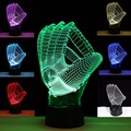 New 3D lamp Decor LED lego Baseball Gloves 3D Illusion light Lighting Color Changing Atmosphere Table