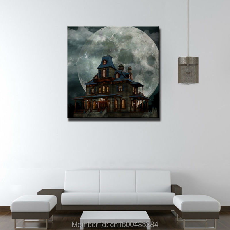 Led Canvas Ancient Castle Print Painting With Led Lights
