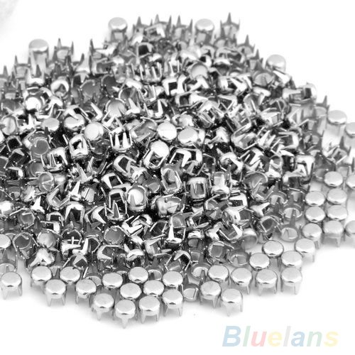 """500 pcs Silver Leathercraft DIY Round Studs Spots Spikes rivets and studs Rivets for bag,shoes,cloths Punk 0.16"""" 0565(China (Mainland))"""