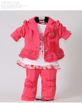 Wholesale Watermelon Red Kids Clothes Set For Baby Girl 3PCS Coat and T Shirt and Pants Children Clothing For Autumn 3PCS/Lot