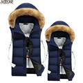 Hot Sale Faux Fur Hooded Puffer Vests for Men Thick Warm Bubble Anorak Vest with Detachable