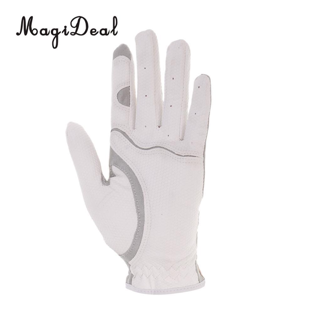 MagiDeal Mens Left Hand Golf Gloves L White + Instant Cooling Towel Blue