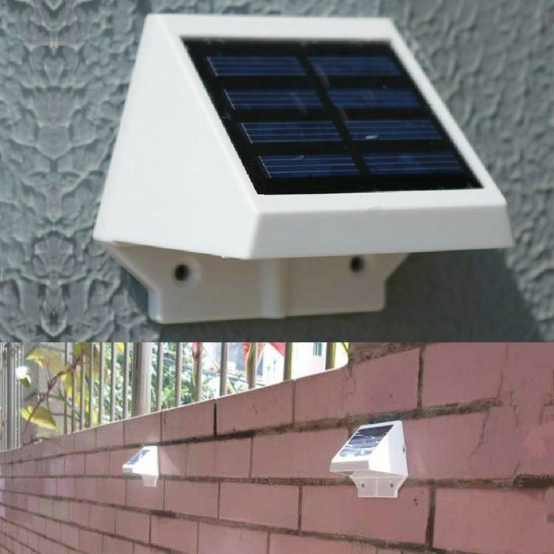 Wall Lamp Light Solar Power Panel 4 LED Fence Gutter Light Outdoor Garden Wall Lobby Pathway Lamp White Warm White<br><br>Aliexpress