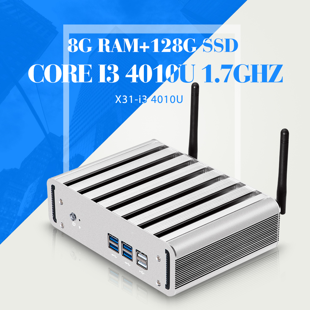 Fanless Computer Network Thin Client I3 4010U 8G RAM+128G SSD+WIFI Industrial Computer 6*USB Support WIN7/8/10(China (Mainland))