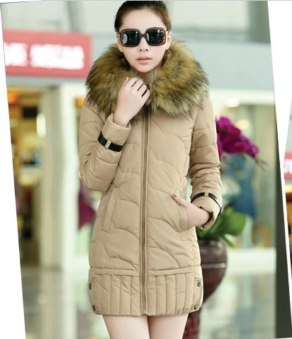 New Winter jacket Woman's Outerwear in the long section Down Cotton Hooded Fur Collar Down Jacket F020(China (Mainland))