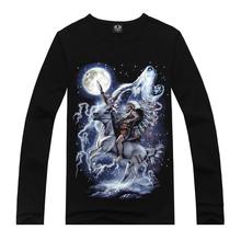 3d t shirt Indian Wolf Print Design Mens T shirts long sleeve Fashion Style Casual Slim Black Tops tee shirts M,L,XL,XXL