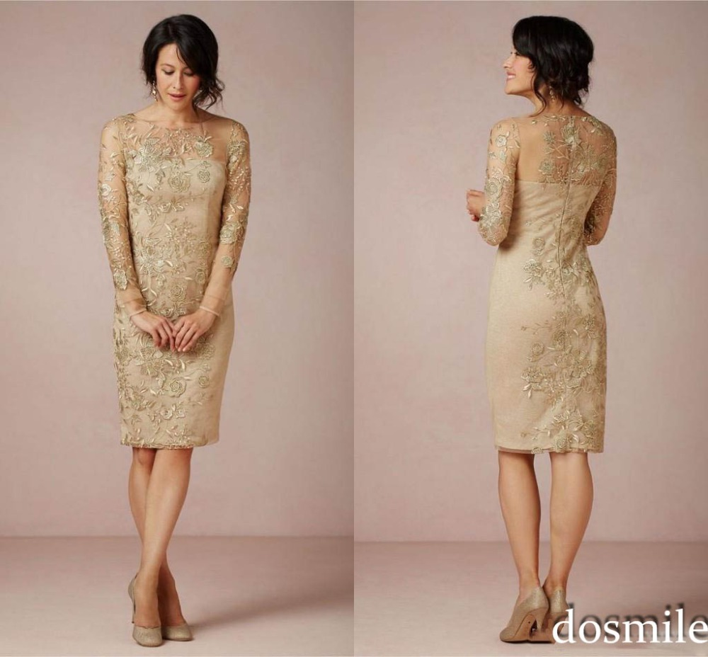 2016 Sheath Gold Embroidery Mother Of The Bride Dresses