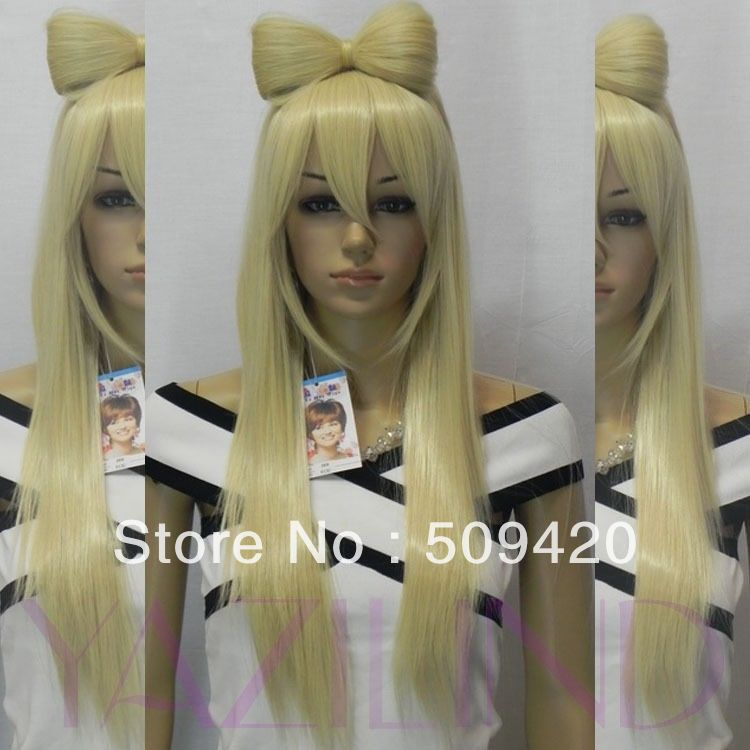 fast ShippingLong Gaga Blonde Bow Bowknot Straight Heat Resistant Fibre Synthetic Hair Wig(China (Mainland))