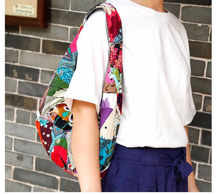 Women Girl Retro Ethnic Flower Embroidered Handmade Handbag Hmong Bag (1)
