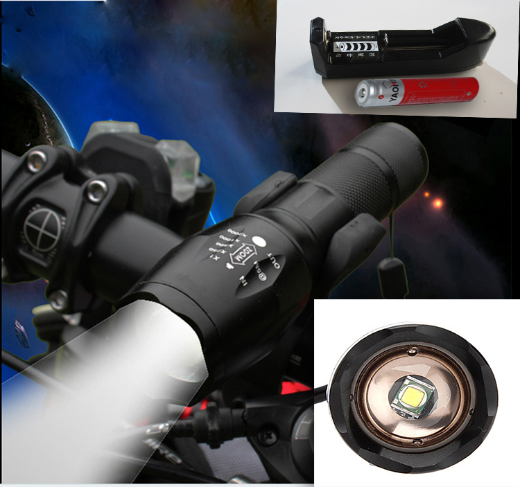 bike light flashlight zoomable adjustable high power cree xml t6 led torch lantern bicycl 18650 battery+bike clip+charger(China (Mainland))