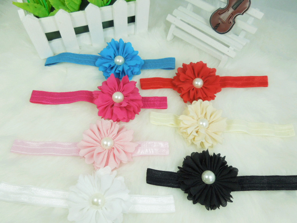 Wholesale - Free shipping The new chiffon look flower with Pearl Baby flower headband DIY hair headband accessories120pcs/lot(China (Mainland))