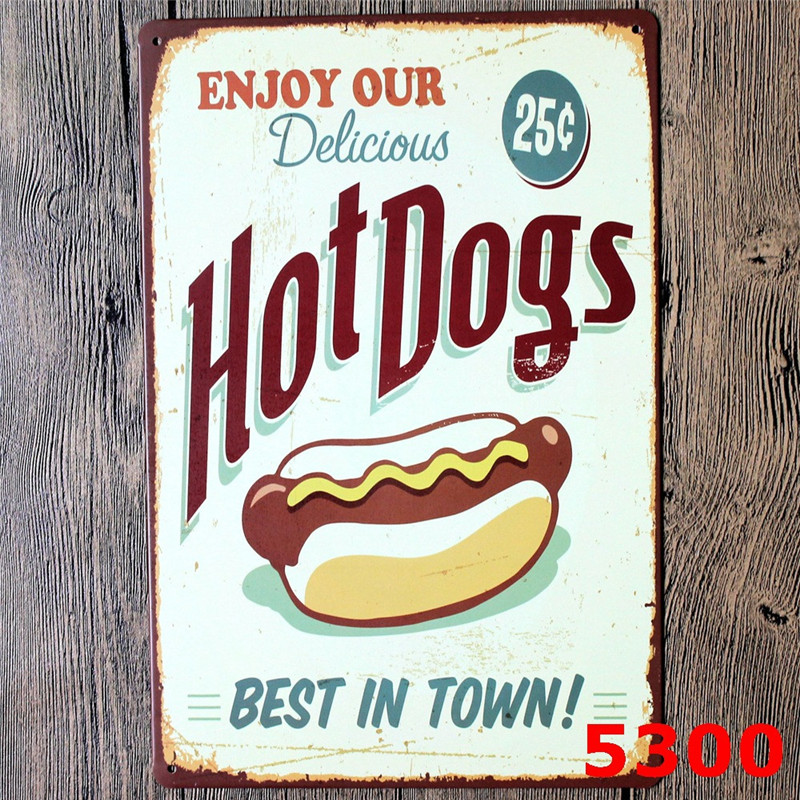20 30 cm hot dogs best in town placas decorativas vintage metal food tin signs pub bar. Black Bedroom Furniture Sets. Home Design Ideas