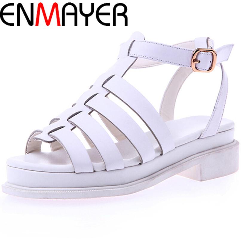 Фотография ENMAYER Shoes Women Sandals for Women Flats Heel  Fashion Platform Sandals Summer Shoes Sexy Buckle Platform Sandals