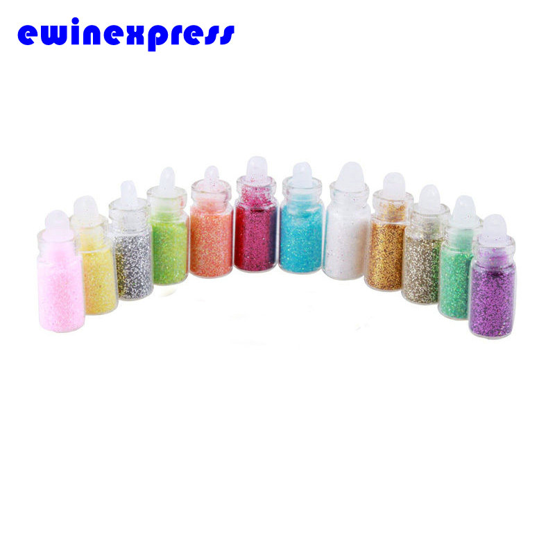 12 Color Nail Glitter Powder Decor Nail Art Powder Dust Bottle Set Nail Tool Glitter Tips Rhinestone Decoration Manicure EB2129(China (Mainland))
