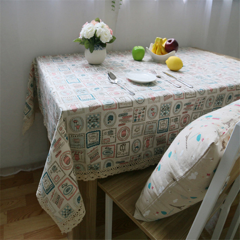 Party Home Decor Dinning Table Cloth Cute Rectanglar Cotton Table Desk Cover Round Tablecloth Mat Korean Style(China (Mainland))