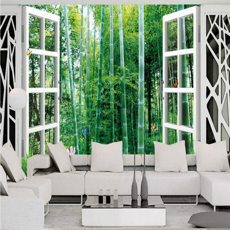 Popular bamboo wall mural buy cheap bamboo wall mural lots for Bamboo wall mural wallpaper