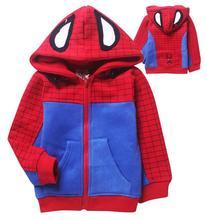 2015 Hot Sale Winter Children Kids Boys Spiderman Warm Zip Hoodies Jacket Sweatershirt Spider-man Clothes(China (Mainland))
