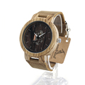 BOBO BIRD H29 Brand Design Zebra Wood Watch Men Luxury Wooden Bamboo Watches Real Leather Quartz