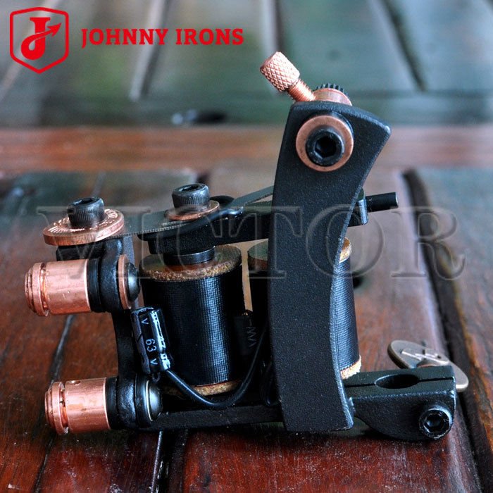 MJ06 Cast Iron Tattoo Machines Gun Shader JOHNNY IRONS 12 wrap coils Tattoo Machine Guns 47uF 26mm Professional Tattoo Supplies(China (Mainland))