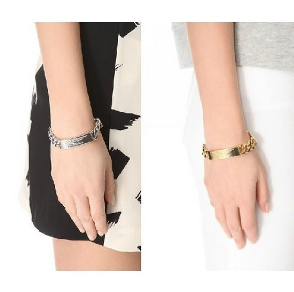 European and American fashion contracted & wild alloy bracelet  cool shiny gold and silver-tone metal braceles free shipping