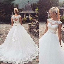 Buy C.V Backless Short Cap Sleeve Lace Wedding Dresses 2017 New Plus Size Custom-Made A-Line Vestido De Noiva White Bridal Dress for $88.56 in AliExpress store