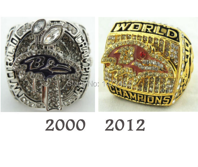 Free shipping 2000 AND 2012 BALTIMORE Ravens Super Bowl Championship rings together Football Size11 as best Gifts for men(China (Mainland))
