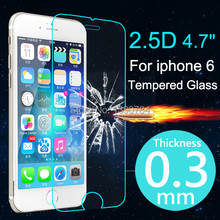 2014 New 2.5D 0.3mm Ultrathin Premium Tempered Glass Screen Protector For iphone 6 4.7 inch HD Protective Film Send Great Gift