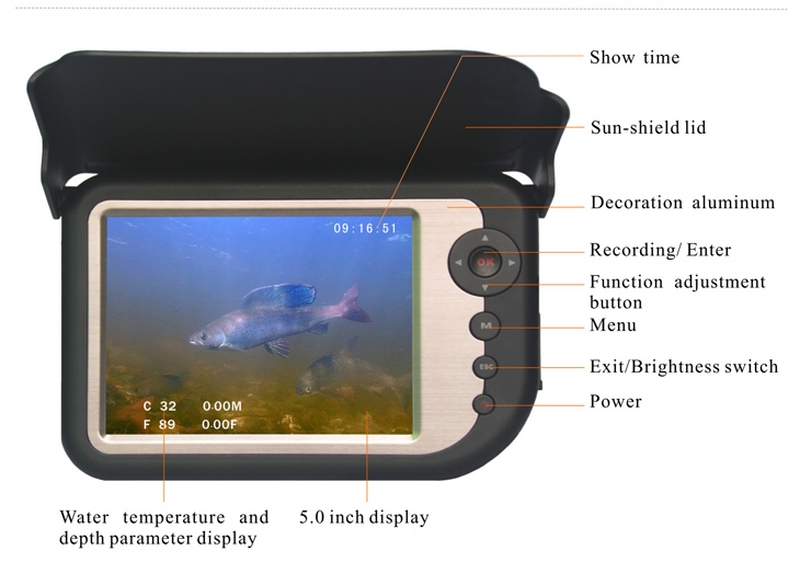 50m Cable Pull 40kg 5'' Color LCD Monitor Underwater Rechargeable Visual Fish Finder Ice Video Fishing Camera System LQ-5050DR(China (Mainland))