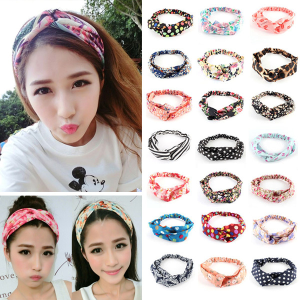 2Pcs Fashion Women Girl Yoga Elastic Turban Floral Twisted Knotted Hair Band Headband(China (Mainland))