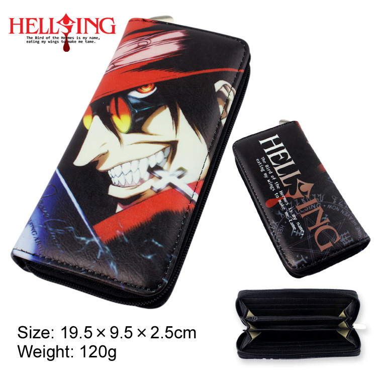 Colorful long style PU wallet printed with Anime HELLSING Alucard with zipper<br><br>Aliexpress