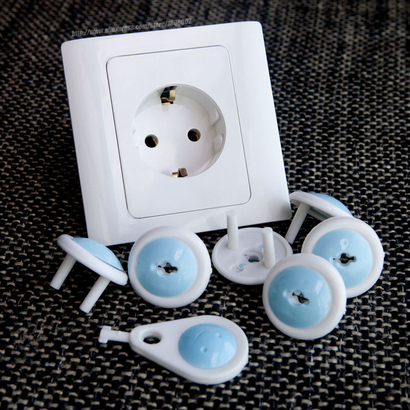 European standard Child electrical safety protective socket cover cap 6 cap + 1 key two phase baby safety product free shipping
