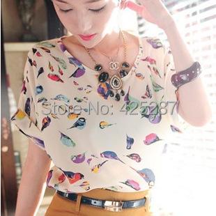 Women blouses printed 19 patterns Casual Chiffon short sleeve Shirt summer Women clothing blusas femininas cheap clothes china(China (Mainland))