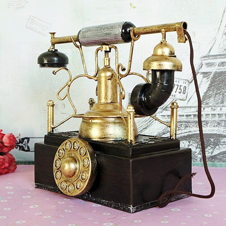 Metal crafts handmade ornaments old wartime vintage telephones tin toy nostalgia Decoration Furniture Decoration shoot props(China (Mainland))