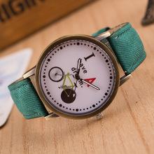 Women Wristwatch 2016 New Fashion Casual Watches Cute Cartoon Bike Geniune Leather Dress Watches Women Quartz Watch Wholesale
