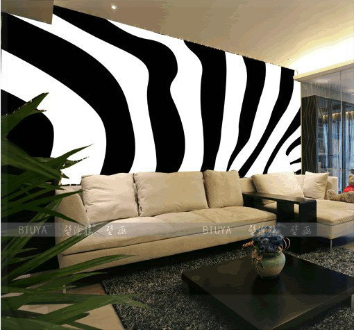 Doodle mural tv background wall wallpaper black and white for Black and white mural prints