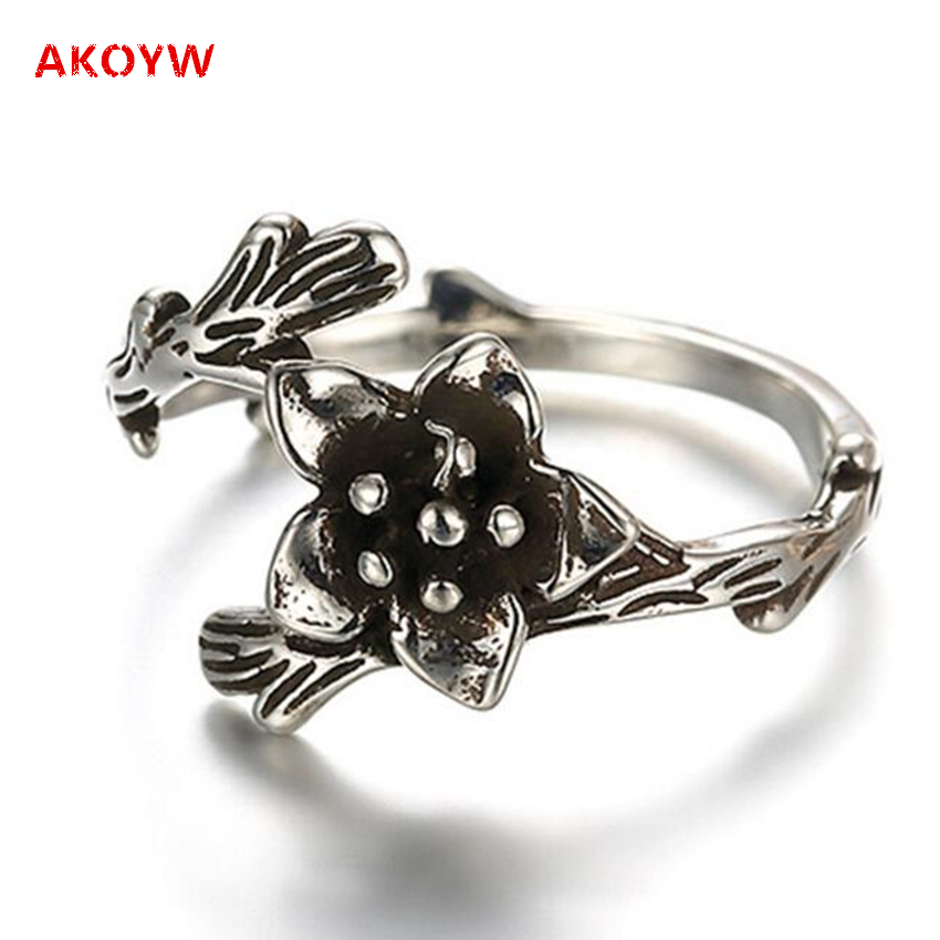 Exaggerated retro flower adjustable ring Thai Silver Ring European and American fashion female models, hand jewelry(China (Mainland))