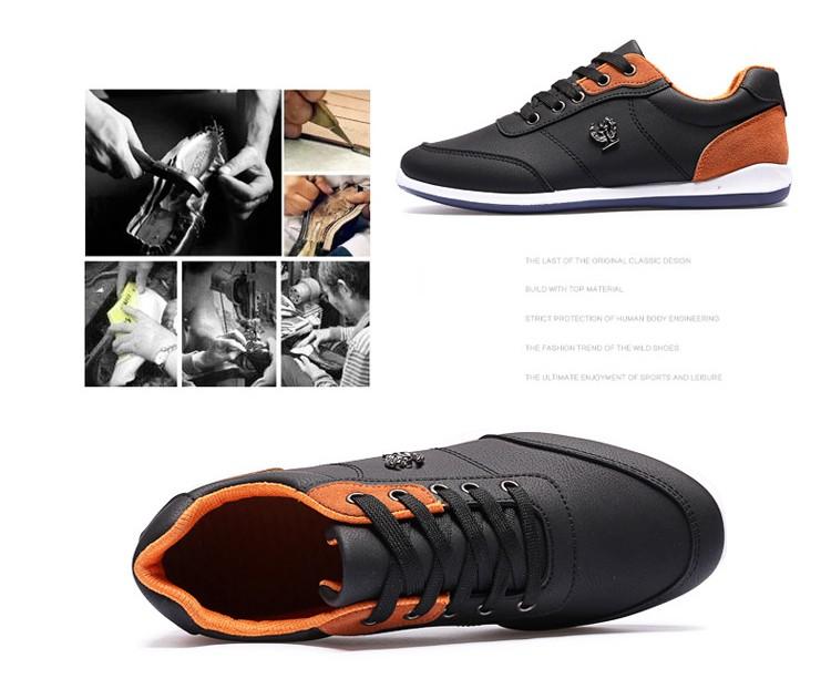 New 2016 Men Shoes Lace Up Designer Spring Autumn Fashion Men Casual Shoes Outdoor Male Footwear For Men Black Blue RMC-210