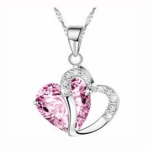 Творческие Женщины Эксклюзивная Модная Женщины Сердце Кристалл Rhinestone Серебряная Цепочка Ожерелье Ювелирные Изделия Кулон Подарок(China (Mainland))