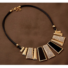 Collier Femme New Fashion Necklaces Pendants PU Leather Rope Geometric Statement Collares for Women Mujer Accessories