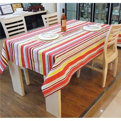 New year quality stripe cloth 100% cotton canvas table cloth tablecloth